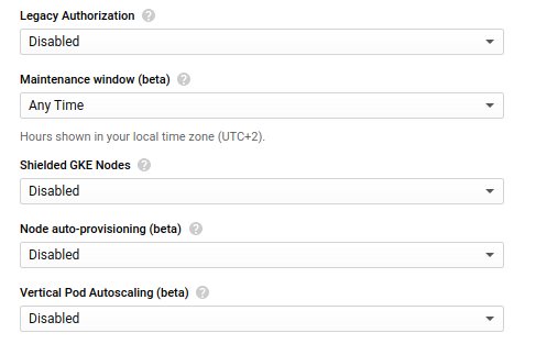 Captura de tela da interface de edição de clusters