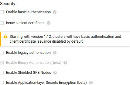 Captura de tela da interface de criação de clusters