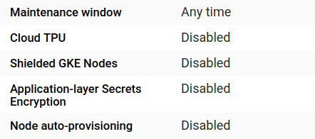 Screenshot of the cluster details list