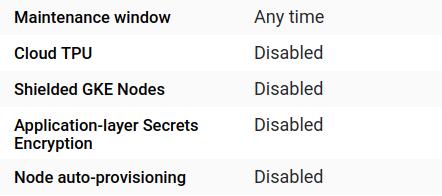 Capture d'écran de la liste d'informations du cluster
