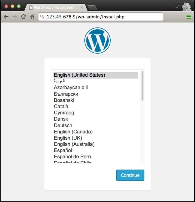 Captura de pantalla de la pantalla de instalación de Wordpress