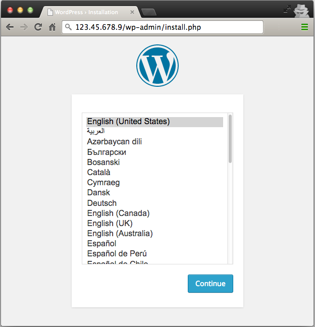 Screenshot of the Wordpress installation screen