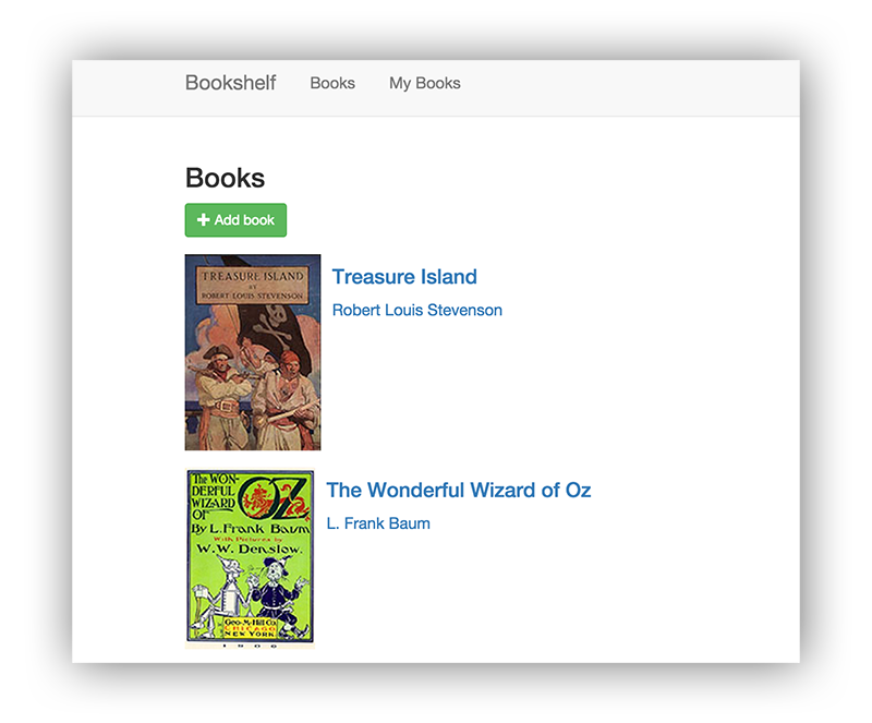 컨트롤 및 도서 표지를 표시하는 Bookshelf 앱의 스크린샷