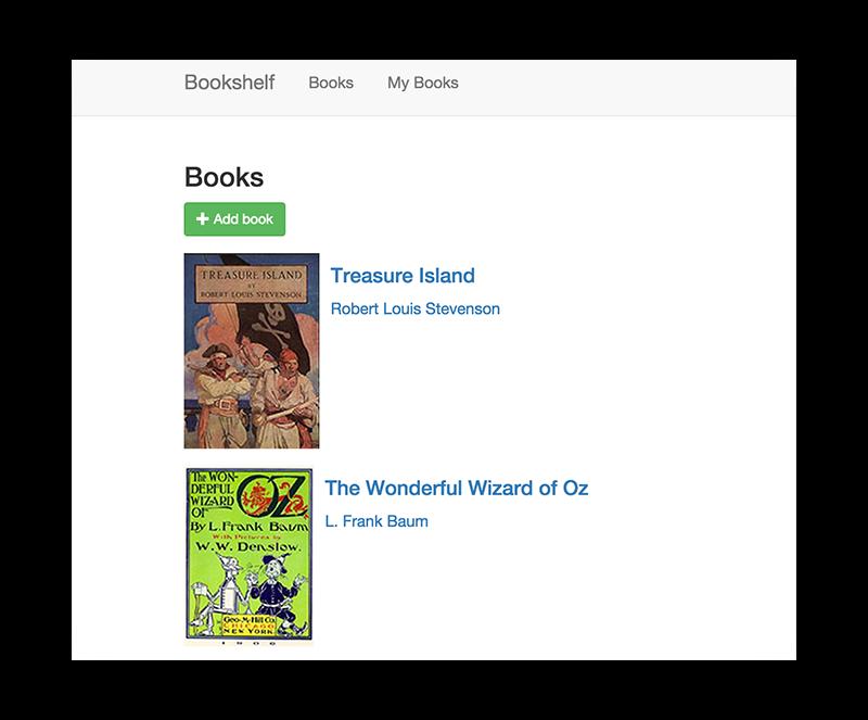 Captura de tela do app Bookshelf mostrando controles e capas de livros