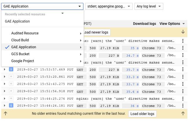Visualizador de registros de Cloud Logging