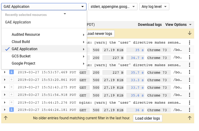 Visualizador de registros do Cloud Logging