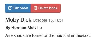 Entrée MobyDick de l'application Bookshelf