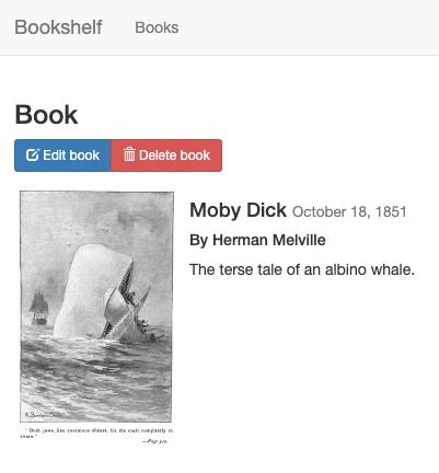 Entrada de Moby Dick de la aplicación Bookshelf