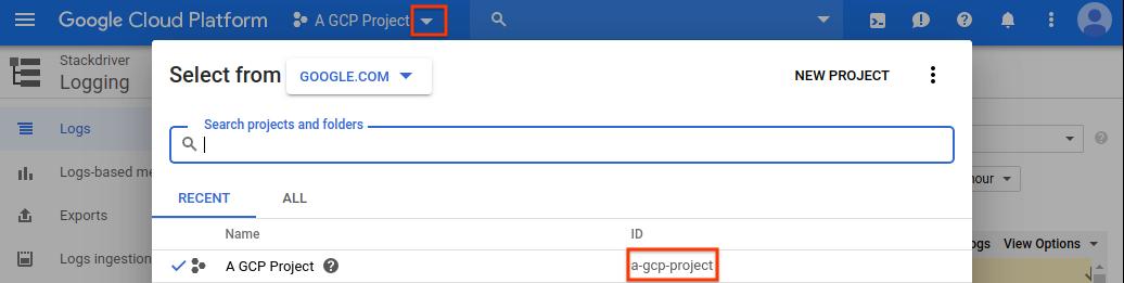 Informações do ID do projeto do Console do GCP
