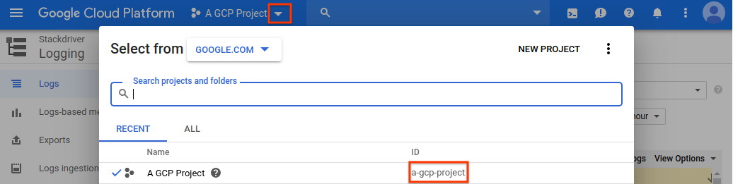 GCP Console project ID information