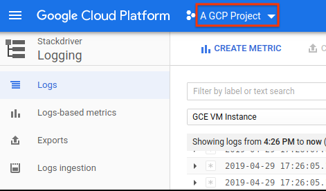 GCP Console project selector