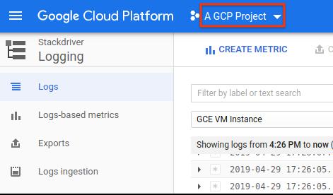 Seletor de projetos do Console do GCP