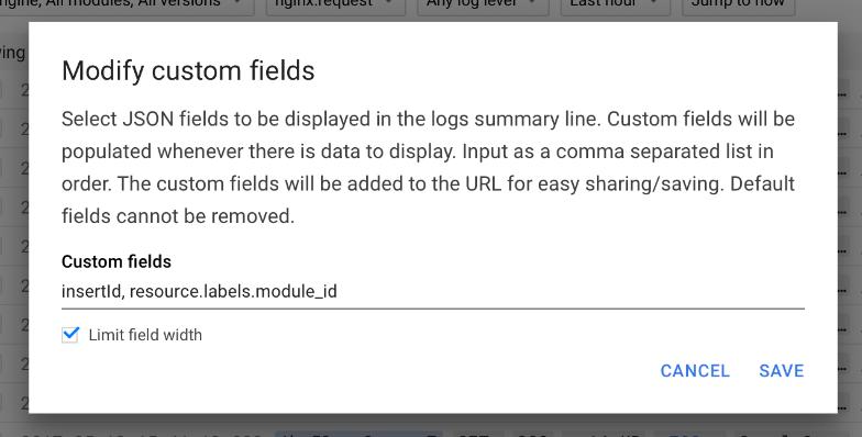 Adicionar campo JSON à linha de resumo