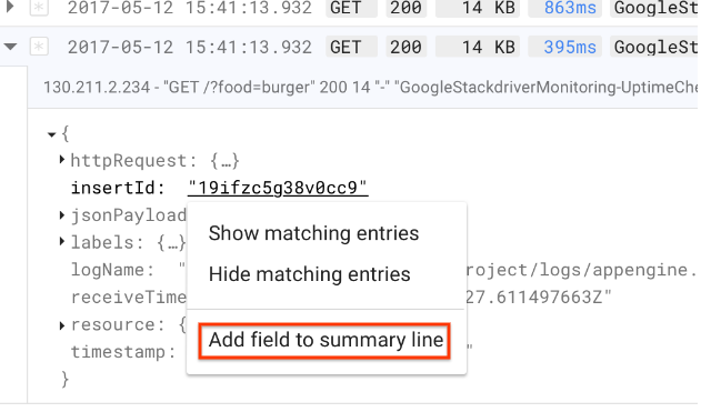 Add field to summary line