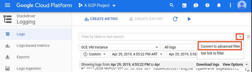 Benutzeroberfläche mit der Umwandlung zum erweiterten Filter