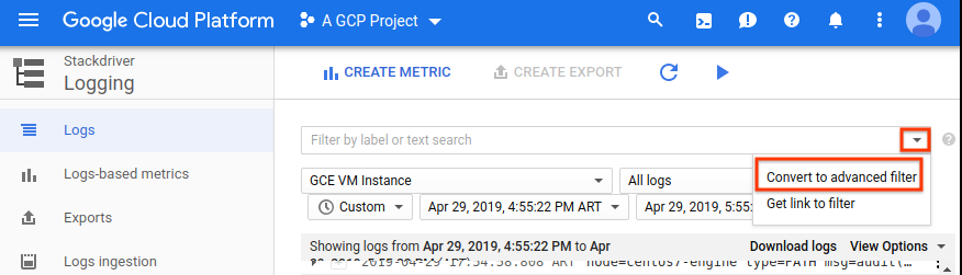 Converter para o filtro de registros avançados