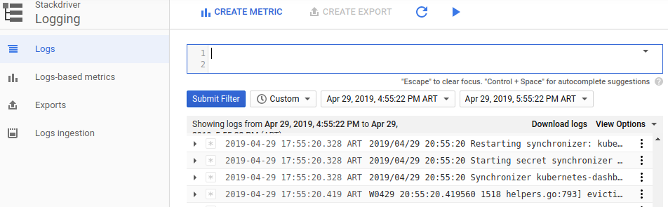 IU do filtro de registros avançados