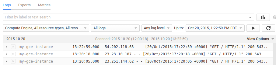 Logs Viewer for Compute Engine