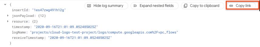 他のユーザーと共有するログエントリのリンクをコピーします。