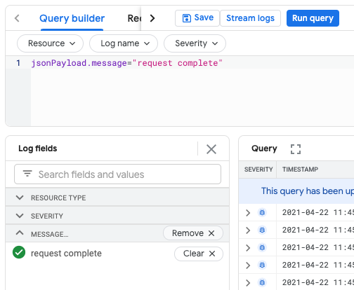 log fields and query builder panes with custom field added.