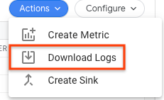 Download logs with the Action button.
