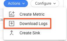 [アクション] ボタンを使用してログをダウンロードします。