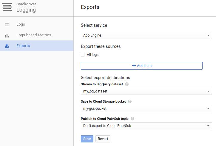Configure export