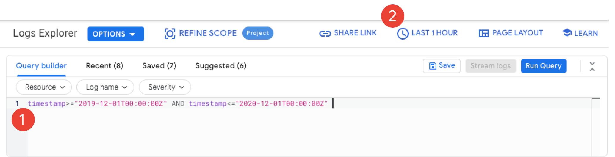 En la sección del visor de registros, se muestran dos maneras de filtrar en función del tiempo