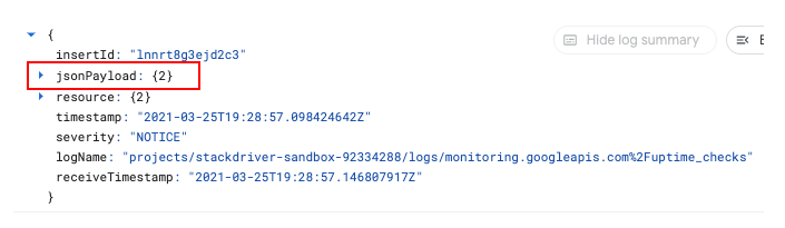 Only jsonPayload field shown.