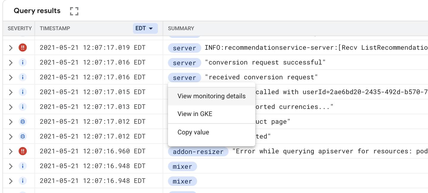 GKE リソースのログ エクスプローラ メニューの表示。