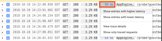 Show latency options