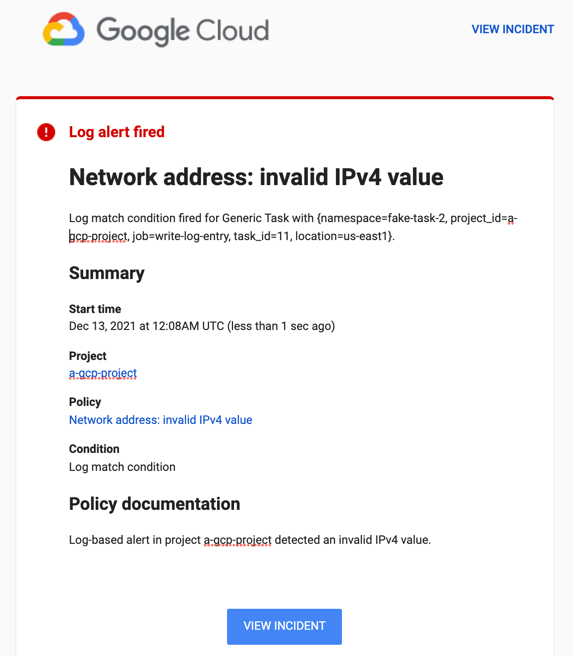 The example log-based alert results in an email notification.