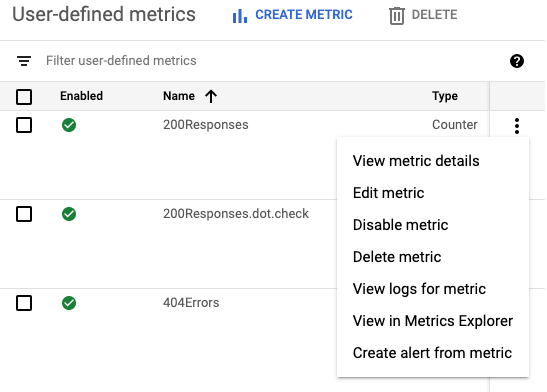 The user-defined logs-based metrics pane overflow menu options.