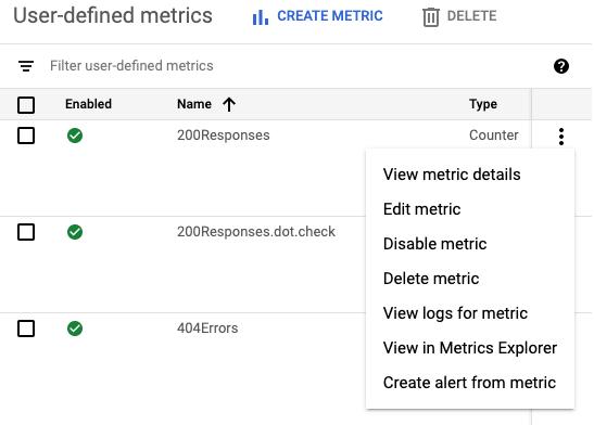 The user-defined logs-based metrics pane overflow menu options.