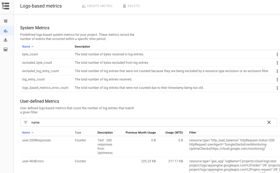 The user interface showing the logs-based metrics lists.