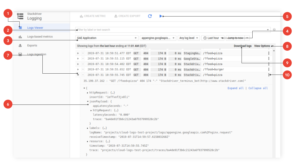 viewing logs stackdriver logging google cloud