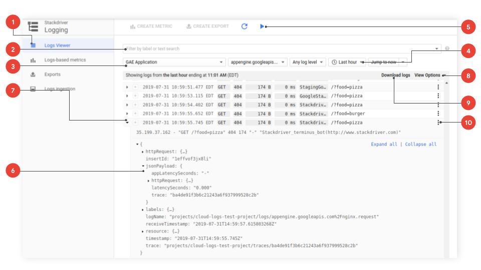 Die Benutzeroberfläche zeigt die Optionen für einfache Logabfragen.