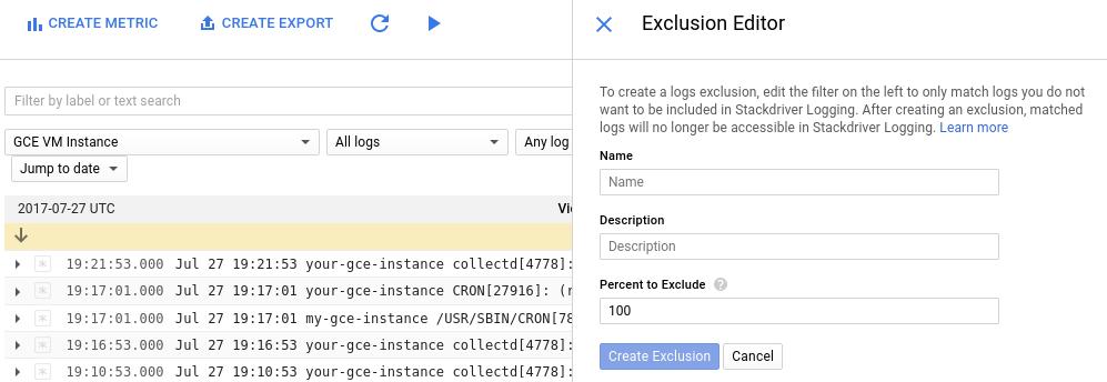 Créer une exclusion
