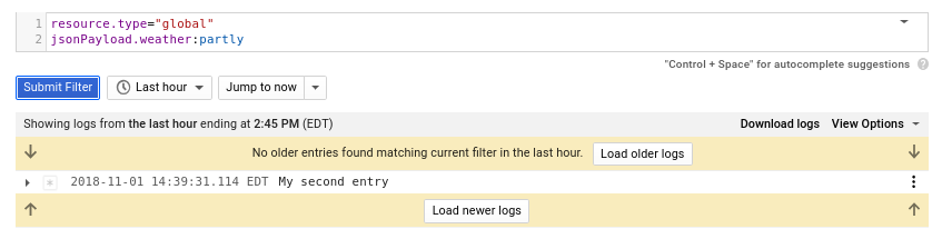 Advanced filter for log entries