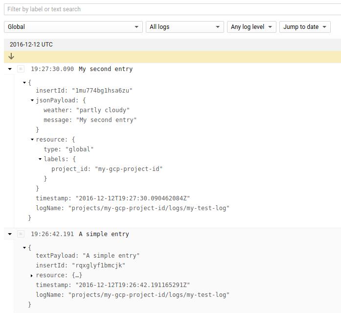 Custom log entries