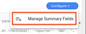 """Gerenciar campos de resumo"" é selecionado no menu suspenso ""Configurar"""