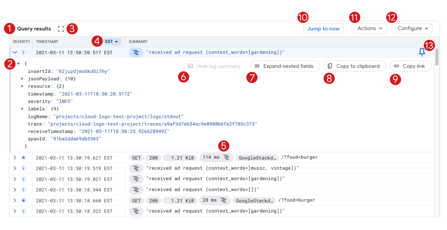 Query results pane