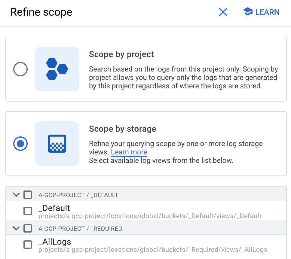 The Refine scope panel