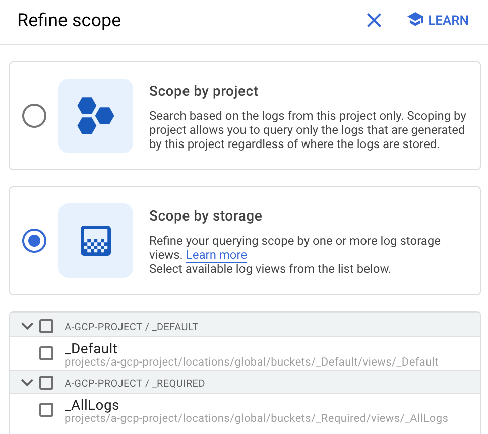 The Refine scope dialog
