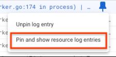 [リソース ログエントリを固定して表示] が選択されています。