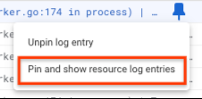 Pin and show in resource context is selected.