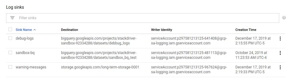 エクスポート リストを示すユーザー インターフェース。