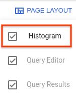 Está abierto el diseño de la página y seleccionado histograma