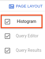 Page layout is open and histograms is selected