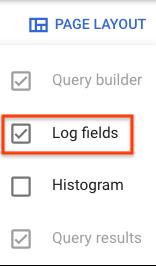 Log fields pane selected